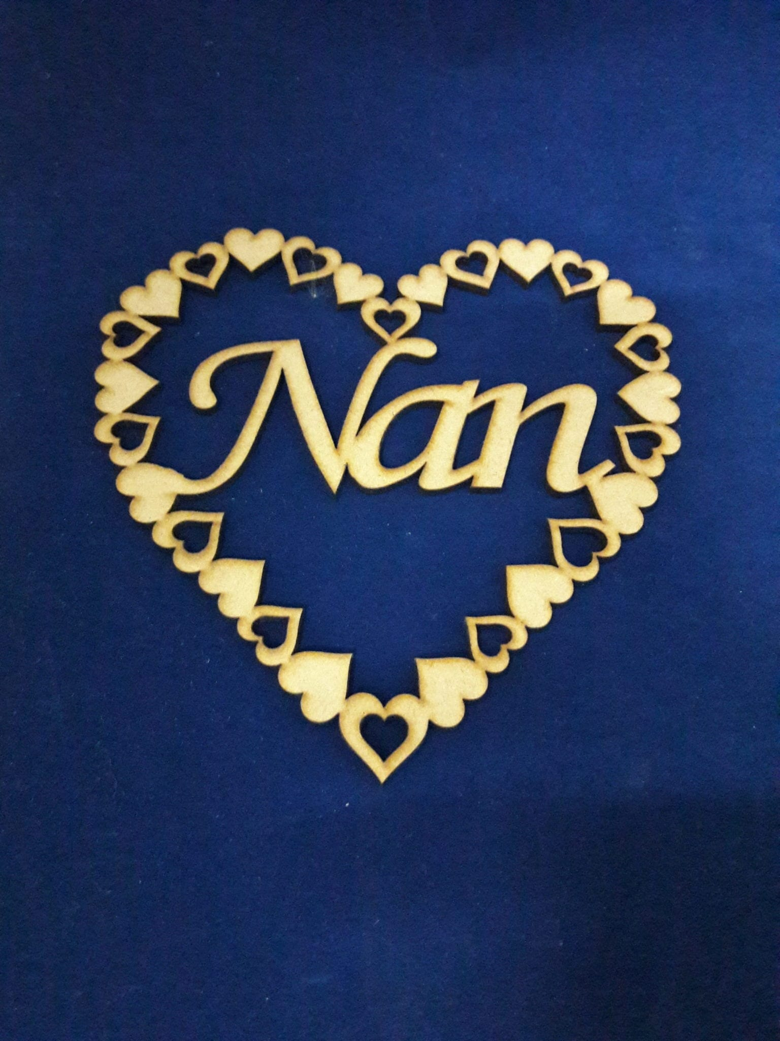 Wooden Mdf heart Plaque sign  Nan mothers day craft blank gift S45