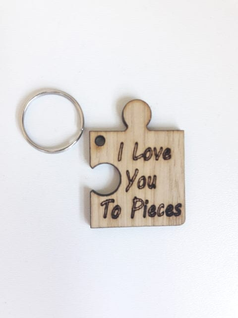 Oak Veneer   I love you to pieces  Keyring E273 - Crafty Foxx Designs dfdd3b0c873c